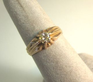 ANTIQUE VICTORIAN 18K YELLOW ROSE GOLD SINGLE DIAMOND .45CT ENGAGEMENT