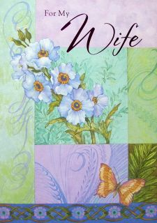 Happy Birthday Sweetheart for My Wife Greeting Card Blue Purple