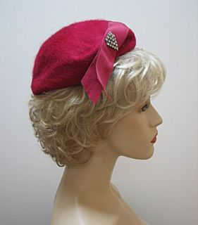 Vintage Ladies Hat Magenta Raspberry Henry Pollak 1401