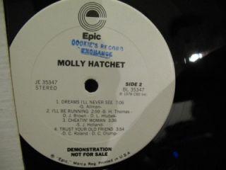 Molly Hatchett Self Titled Rock LP on White Label Promo Epic Je 35347