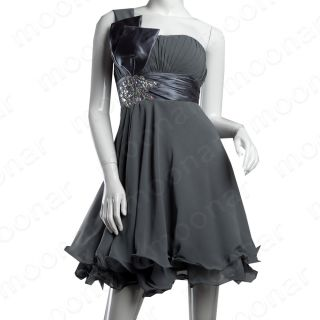 Grey Prom Gown Mini Short Bridesmaid Dress Evening Party Cocktail Plus