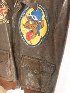 WWII WW2 Type A 2 Red Devils Mors Hostibus Leather Pilot Bomber Jacket