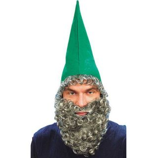 GREEN DWARF HAT BEARD Grey Wig Elf Gnome Goblin Wizard Mens Costume