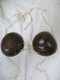 Genuine Coconut Shell Bra Bikini Top Hawaiian Luau Hula Girl Tropical