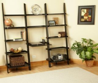 Heritage Leaning Ladder Black Bookcase Desk Wall Shelf