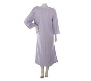 Stan Herman Santorini French Terry Seersucker Zip Caftan Lavender 1x