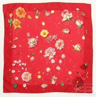 Hermes Red Orange Rose Silk Pocket Square Scarf