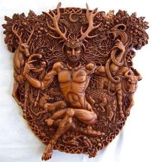 Celtic Horned God Cernunnos Herne Wall Plaque Wood Finish Resin Maxine