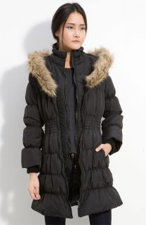 NWT   HAWKE & CO Womens QUILTED Faux Fur Trim RUCHED Down COAT Black