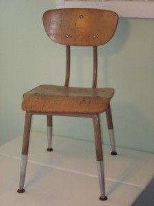 Vintage Griggs Wood Metal Youth School Desk Chair