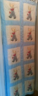 Vintage Homemade Handmade Hand Stitched Twin Size Quilt Boy Fishing