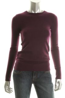 Hayden New Purple Cashmere Ribbed Trim Crewneck Long Sleeve Pullover