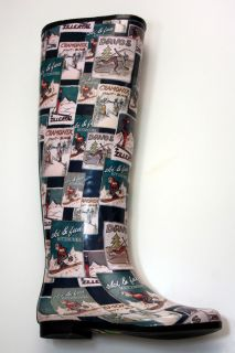 Henry Ferrera Multi Color Tall Classic Winter Ski Print Rain Boots