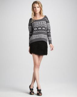 Haute Hippie Fair Isle Sweater & Suede Fringe Skirt