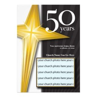 Customizable 50 Year Church Anniversary Custom Invites