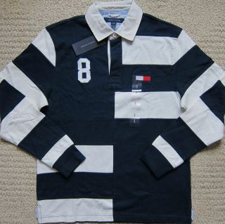 Tommy Hilfiger Navy White Premium Long Sleeves Polo Shirt Mens $64