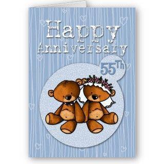 happy anniversary bears   55 year greeting card