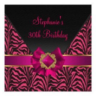 30th Birthday Party Zebra Black Pink Silk Gold Personalized Invitation