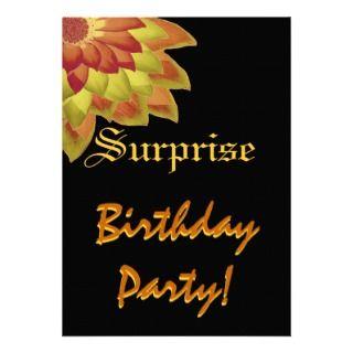 SURPRISE Birthday Gold Orange Flower Custom Name Custom Invitations