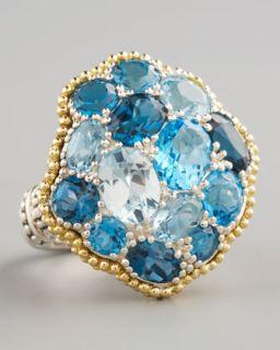 Konstantino Iris Carved Rock Crystal Flower Ring