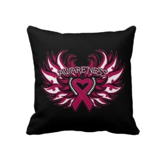 Sickle Cell Anemia Awareness Heart Wings Throw Pillow