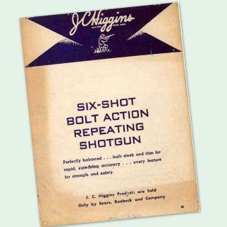 JC HIGGINS MODEL 10 BOLT ACTION SHOTGUN OWNERS PART GUN MANUAL