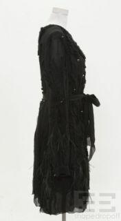 Carolina Herrera Black Rosette Rhinestone & Feather Long Sleeve Dress