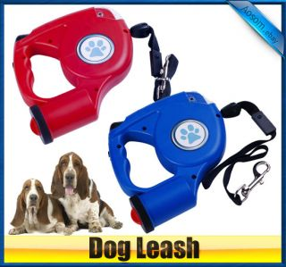 New 15ft Automatic Retractable Pet Dog Leash with LED Light Red Blue