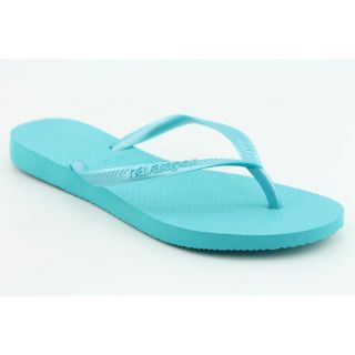 Havaianas Slim Youth Kids Girls Size 2 Blue Synthetic Flip Flops