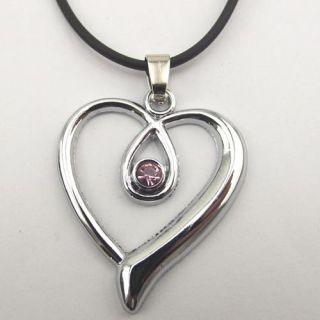 Titanium Steel Heart Shaped Pendant Necklace Chain Jewelry 015 New