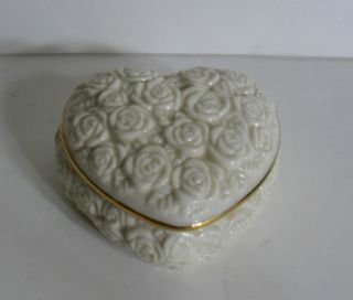 Lenox Heart Shaped Trinket Box Rose Design