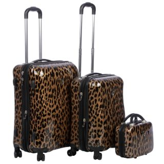 Heys USA Metallic Leopard 3 piece Hardside Spinner Luggage Se