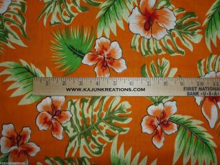 HAWAIIAN orange LUAU tropical HIBISCUS FLOWER aloha fabric to SEW UR