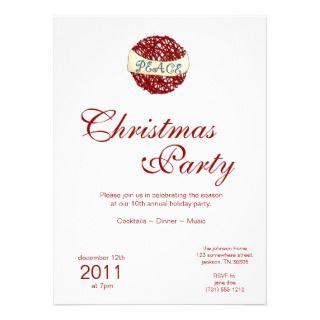 Christmas Holiday PEACE Ornament Invitations