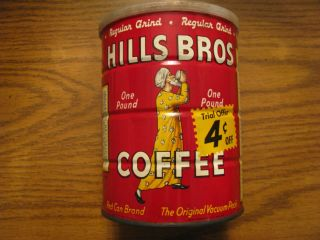 Vintage 1963 Hills Bros Coffee Tin Can Container One Pound 1 lb 4
