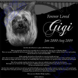 Personalized Pet Dog Cat Memorial 12x12 Granite Grave Marker Rainbow