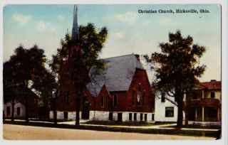 Old Hicksville Ohio Postcard Church Defiance County