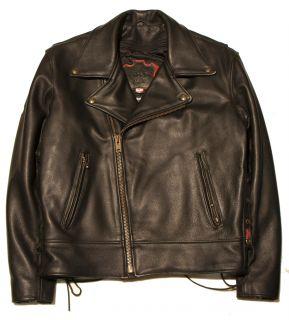 Hillside Mens Beltless Black Leather Biker Jacket with Lace Up Sides