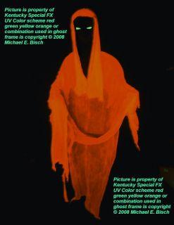 Orange Halloween Hanging Ghost Prop Decoration Blacklight Reactive