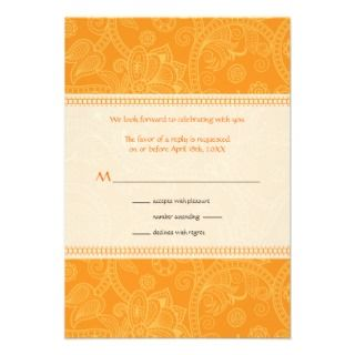 Paisley Impression in Orange Wedding Reply Custom Invitation