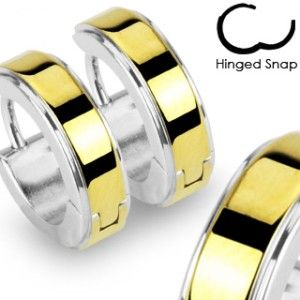 Steel Hoop Earrings Two Tone Gold Plate Center Hinged Snap