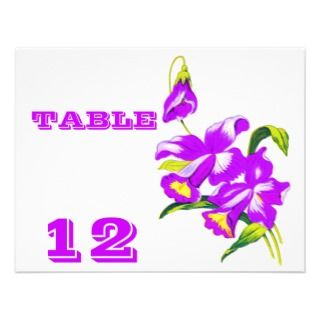 Pink Orchid Wedding Flowers Table Number Cards 2
