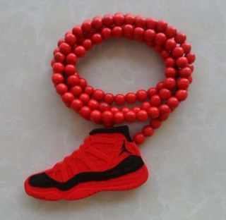 Hip Hop Jordan Retro Shoes Pendants Wood Rosary Bead Necklaces Red K