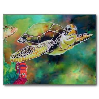 Green Sea Turtle Silk Painting Postcard