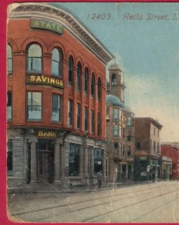 1914 Laurium MI Hecla Street Scene Postcard Houghton County Michigan