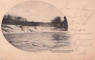 Postcard Falls Dam High Water Seymour Ct