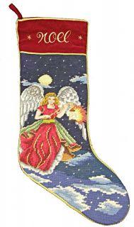 Needlepoint Noel Angel Finished Christmas Stocking