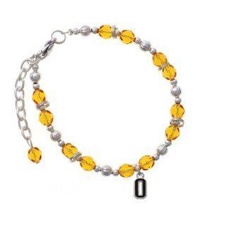 Black Number   0 Yellow Czech Glass Beaded Charm Bracelet [Jewelry