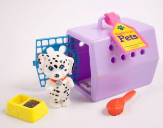 Vintage Littlest Pet Shop Happy Puppy & Carrier Kenner Dalmatian dog