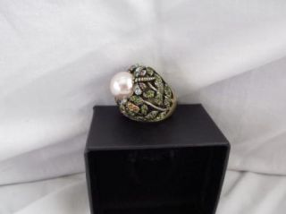 Heidi Daus Secret Garden Dome Ring w Crystal Accent Butterfly Bee
